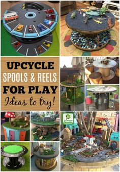 Create budget friendly & playful indoor/outdoor resources by upcycling and repurposing wooden spools and cable reels. Clever ideas to inspire early childhood teachers and parents! fun preschool Repurpose wooden spools and cable reels for play! Cable Spool Tables, Wooden Cable Spools, Wooden Cable Reel, Cable Spool Ideas, Wooden Spool Tables, Outdoor Play Areas, Indoor Outdoor, Diy For Kids, Crafts For Kids