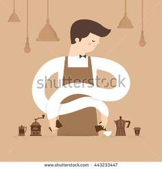 Barista is making coffee in cafe.Vector illustration design, restaurant, food…