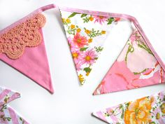 Vintage Pink/Peach & Lace Floral BUNTING Garden Tea Party Shabby ...