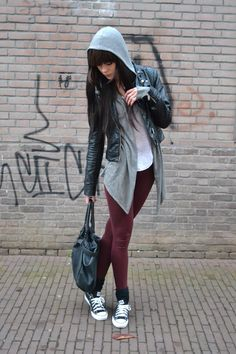 Burgundy skinny jeans and chucks