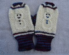 "Knit - ""Cabled Snowman Mittens"" (free pattern) (1 of 2)"