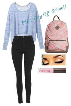 """""""First day of school!"""" by stylememint ❤ liked on Polyvore featuring Victoria's Secret, Topshop and Laura Mercier"""