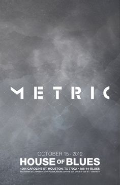 Metric Concert Poster by Eli Brumbaugh, via Behance