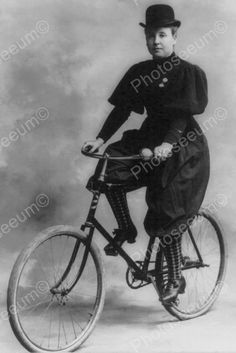 Victorian Lady Poses On Bicycle 1800s 4x6 Reprint Of Old Photo
