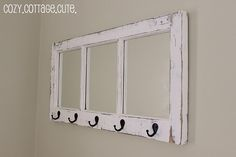 Need a place to hang the keys? How about on old window? - could always do this with a photoframe too