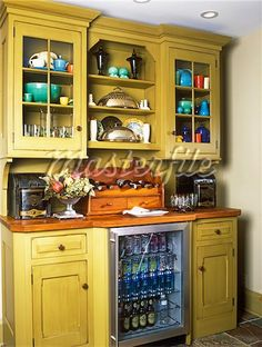 Cabinets with built in wine cooler