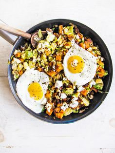 Sweet Potato, Brussels Sprout, and Chorizo Hash {Katie at the Kitchen Door}