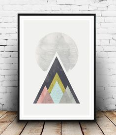 Mountains print geometric wall art Abstract print by Wallzilla