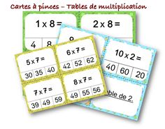 Tables de multiplication - Atelier cartes à pince Fractions, Math Tables, Classroom Management, Education, Learning, Cycle 3, Math College, Active, Jouer