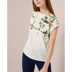 Ted Baker Secret Trellis front T-shirt (£50) ❤ liked on Polyvore featuring tops, t-shirts, cream, short sleeve tops, ted baker tops, print top, woven top and cream t shirt