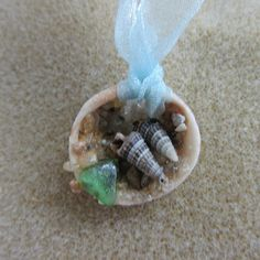Seashell Necklace with Beach Glass by catherinestreasures on Etsy, $10.00