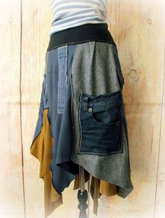 I'd make it with neat stitching Altered Couture, Festival Skirts, Festival Wear, Ceinture Large, Boho Chic, Sweater Refashion, Clothes Crafts, Hippie Outfits, Recycling