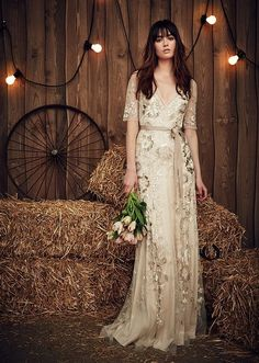 13 Boho Wedding Dresses from Top Bridal Designers   Couture and country, Jenny Packham's wedding dresses bring a sense of glamour to any rustic celebration. You may even recognize the names of pieces like this one from her Fall 2017 bridal collection. From Faith to Dolly, they honor popular country musicians, locations and themes.