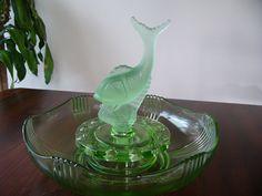 Art Deco Float Bowl ... Fish Flower Frog ... Green Glass Float Bowl ... Table…