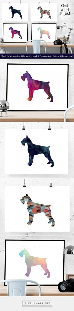 Giant Schnauzer, Black Russian Terrier or Bouvier silhouettes in black watercolor and colorful geometric patterns on Etsy