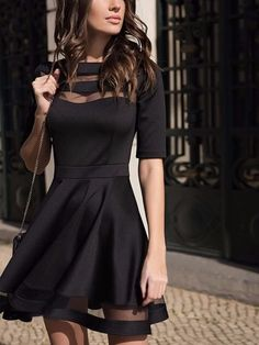 393587dd1d4 2018 Women Dress Spring Summer European Style Ladies Knee Length Vintage  Mesh Sexy Black Party Dresses Vestidos Black Dress S-XL - Women Shopping