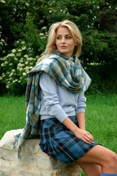 Click on the photo to go to the online store. Cashmere clothing from Scotland.    Ladies Stole Scottish Collection, Stewart Muted Blue    Product ID: 14004