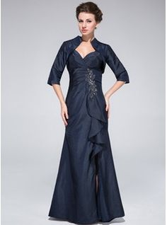 Mother of the Bride Dresses - $155.99 - Trumpet/Mermaid Sweetheart Floor-Length Taffeta Mother of the Bride Dress With Beading Split Front Cascading Ruffles  http://www.dressfirst.com/Trumpet-Mermaid-Sweetheart-Floor-Length-Taffeta-Mother-Of-The-Bride-Dress-With-Beading-Split-Front-Cascading-Ruffles-008025374-g25374