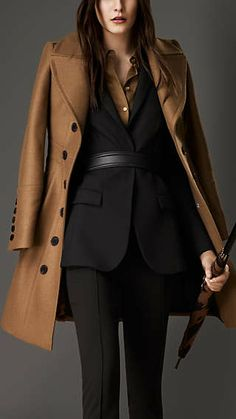 Bonded Wool Cashmere Military Coat - Olivia Pope probably would have this in white or cream, not camel. But I would totally wear it! classy olivia pope Women's New Arrivals Suits For Women, Women Wear, Clothes For Women, Ladies Suits, Work Fashion, Fashion Outfits, Womens Fashion, Suit Fashion, Burberry Suit