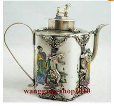 Collectibles china wit porselein inlay tibet zilver gekko theepot aap deksel