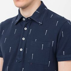 UNIQLO x Michael Bastian MEN MB Washed Short Sleeve Polo Shirt - Navy Golf Print