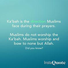 Muslims face towards the Ka'bah when they pray. Muslims only worship Allah Subhanahu wa Ta'ala. Reminder Quotes, Self Reminder, Islamic Qoutes, Muslim Quotes, Beautiful Names Of Allah, Noble Quran, Islamic Studies, All About Islam, Islamic Videos