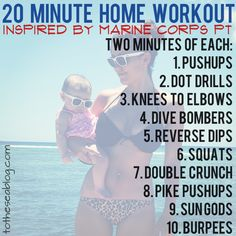 20 Minute Home Workout inspired by Marine Corps Physical Training - visit website for detailed description Fit Board Workouts, At Home Workouts, Weight Workouts, Workout Routines, Workout Plans, Workout Ideas, Fitness Diet, Fitness Motivation, Health Fitness