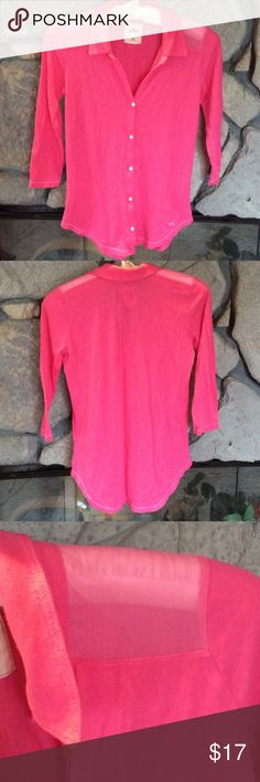 Pink Hollister button down shirt Pink button down collar shirt, rounded hem, 3/4 sleeves. Shoulders have sheer see through material.  Great condition. Smoke free home. Hollister Tops Button Down Shirts