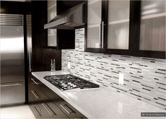 Backsplash Ideas For Dark Cabinets | 30-DAY MONEY BACK GUARANTEE! NO Restocking Fee! We'll be credited ... Espresso Kitchen Cabinets, Kitchen Cabinetry, Kitchen Backsplash, Wood Cabinets, Backsplash Ideas, Grey Backsplash, Glass Cabinets, Backsplash Design, Kitchen Counters