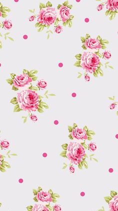 Pink roses spots dots vintage floral iphone background phone wallpaper lockscreen