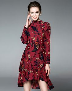 #AdoreWe #VIPme A-Line Dresses❤️Designer GYALWANA Red Floral Hi Low Long Sleeve Midi Dress - AdoreWe.com