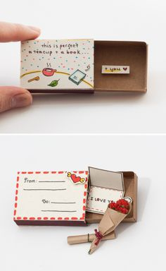 """Quirky & Cute Matchbox-Cards Help You Profess Your Love Inspired by greeting car., Quirky & Cute Matchbox-Cards Help You Profess Your Love Inspired by greeting cards, gift boxes and all things miniature, these tiny """"cards"""" are . Easy Diy Gifts, Diy Gift Box, Diy Crafts For Gifts, Creative Gifts, Gift Boxes, Craft Presents, Creative Ideas, Matchbox Crafts, Matchbox Art"""