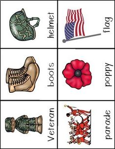 make 2 copies of these cards and do a memory/matching game Memorial Day Activities, Remembrance Day Activities, Remembrance Day Art, Veterans Day Activities, Preschool Lesson Plans, Preschool Books, Preschool Games, Preschool Learning, Veterans Day For Kids