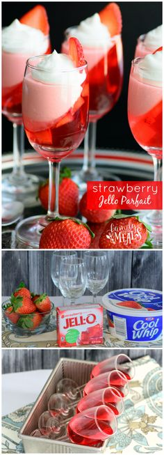 Strawberry Jello Parfait - A pretty Valentine dessert Jello Desserts, Jello Recipes, Strawberry Recipes, Mini Desserts, Easy Desserts, Jello Drink Recipe, Small Desserts, Trifle Recipe, Plated Desserts