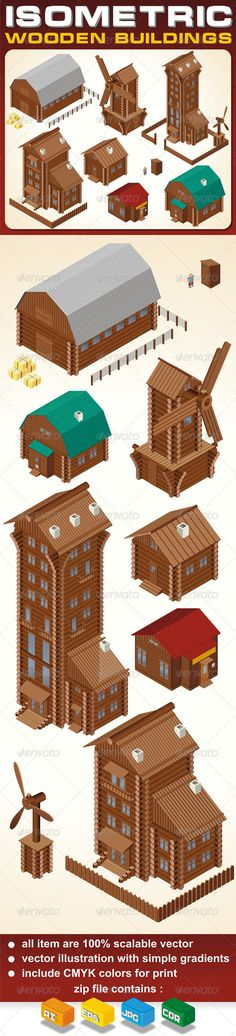 Isometric Wooden Cabins and House #GraphicRiver Isometric Wooden Houses. Rural House, Log Cabin, Wood Windmill, Rustic Outhouse, Farm Barn and Large Cottage. Vector Clip Art - vector illustration with simple gradients - vector graphics with CMYK colors for print - zip file contains images: AI, CDR, EPS, JPG Keywords: farm, living, board, store, shop, retro, style, old, ancient, construction, farmyard, wall, cottage, rare, large, clip, art, alpine, detailed, windmill, woodcutter, detached…