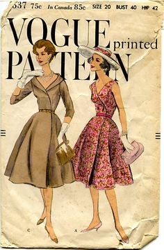 beautiful wrap dress pattern vogue 9537 cocktail party or day two figure flattering styles bust 36 simple to make vintage sewing pattern factory Vogue Dress Patterns, Vintage Vogue Patterns, Motif Vintage, Dress Making Patterns, Clothing Patterns, Vintage Glam, Vintage Designs, 1950s Fashion, Vintage Fashion