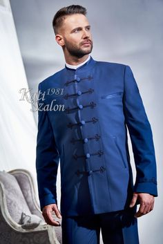 K32 Kék bocskai öltöny - Kati Szalon Designer Suits For Men, Mens Suits, Suit Jacket, Breast, Jackets, Boards, Stuff To Buy, Fashion, Fashion Styles