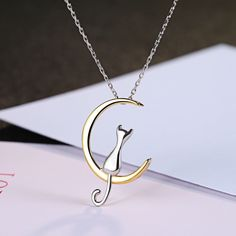 Moonlight Cat Necklace - 925 Sterling Silver