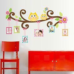 Frame Doudouwo ® Animales Dibujos animados El Búho feliz etiqueta de la pared – EUR € 8.59