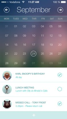Calendar App - Mobile Interface on Creattica: Your source for design inspiration