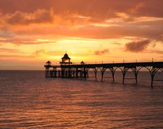 Clevedon Pier by Steve Clarkson Seaside, Celestial, Sunset, Outdoor, Outdoors, Beach, Sunsets, Outdoor Games, The Great Outdoors