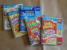 UPCYCLED NOTEBOOKS. Use cardboard packaging from cereal boxes, cases of soda, or VCR movie slipcases to make unique covers for notebooks/journals. Many office supply type stores will let you use their punching machines. You only have to pay for the actual spirals that you use.