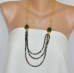 Multicolor Crystal Long  Necklace with Green Jade Stones