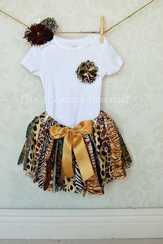 Safari Animal Print Shabby Chic Rag Tie Fabric by ThePickledPeanut