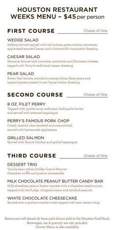 Perry's Steakhouse Menu for Houston Restaurant Weeks #HRW2015 #HRW