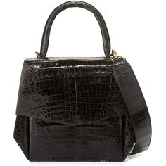 Nancy Gonzalez Crocodile Medium Structured Top-Handle Bag ($3,250) ❤ liked on Polyvore featuring bags, handbags, purple shiny, nancy gonzalez handbags, crocodile purse, flap purse, zipper flap purse and croc purse