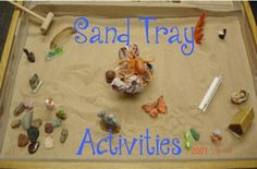 "Examples of Sand Tray Activities ""Create your own world"" or ""Tell me a story in this tray"" Client constructs representation of real-life experience, interaction or problem situation. Can provide reassuring distancing for client by keeping in third person.  For example, suggest a scene about ""a girl who feels betrayed by her best friend""instead of the client. Client builds tray portraying particular issue requiring solution.  Client then selects miniature to act as a Helper or ..."
