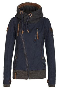 Contrast Hooded Oblique Zipper Placket Long Sleeve Hoodie Sweatshirt Jacket