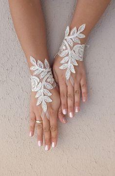 light beige lace gloves Wedding gloves free ship by WEDDINGHome, $25.00