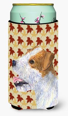 Jack Russell Terrier Fall Leaves Portrait Tall Boy Beverage Insulator Beverage Insulator Hugger